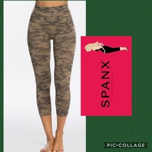 SPANX cropped look at me now desert camo leggings